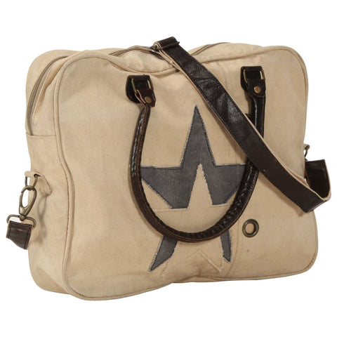 Hand Bag Beige 40x54 cm Canvas and Real Leather