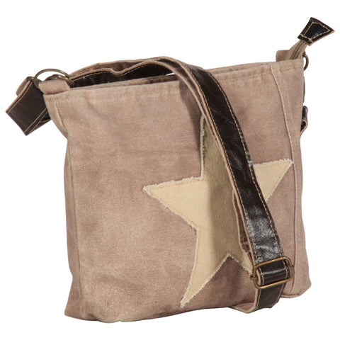 Shoulder Bag Brown 34x23 cm Canvas and Real Leather