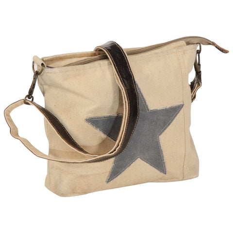 Shoulder Bag Beige 34x23 cm Canvas and Real Leather