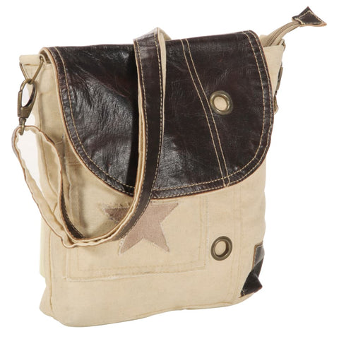 Shoulder Bag Beige 29x6x24 cm Canvas and Real Leather