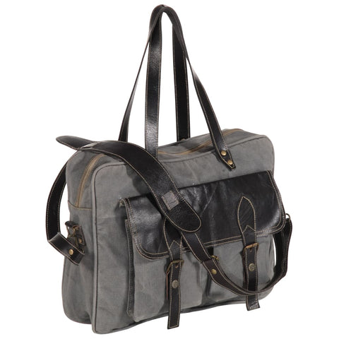 Hand Bag Dark Grey 40x53 cm Canvas and Real Leather