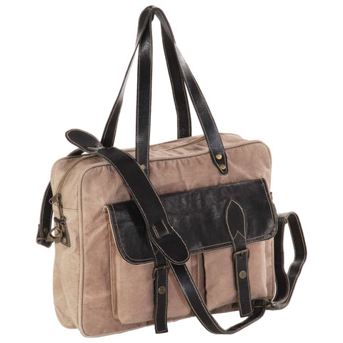 Hand Bag Brown 40x53 cm Canvas and Real Leather