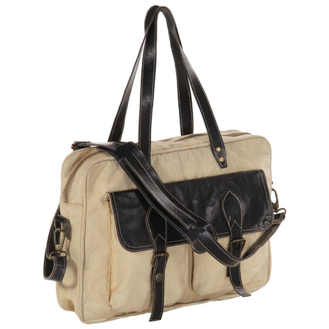 Hand Bag Beige 40x53 cm Canvas and Real Leather