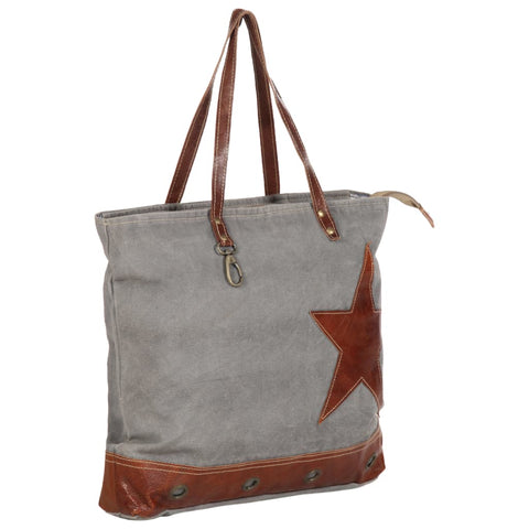 Shopper Bag Dark Grey 48x61 cm Canvas and Real Leather