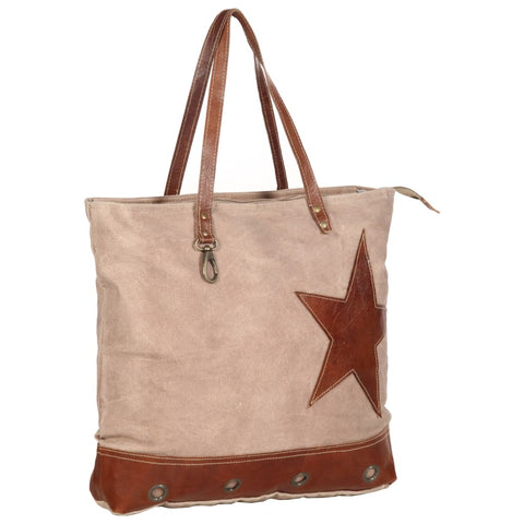 Shopper Bag Brown 48x61 cm Canvas and Real Leather