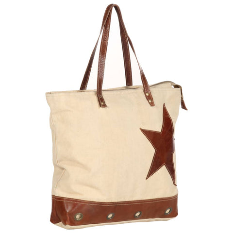 Shopper Bag Beige 48x61 cm Canvas and Real Leather