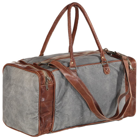 Weekend Bag Dark Grey 54x23x52 cm Canvas and Real Leather