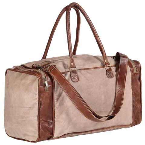 Weekend Bag Brown 54x23x52 cm Canvas and Real Leather
