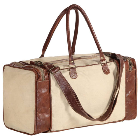 Weekend Bag Beige 54x23x52 cm Canvas and Real Leather