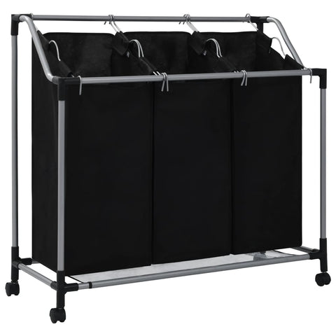 Laundry Sorter with 3 Bags Black Steel