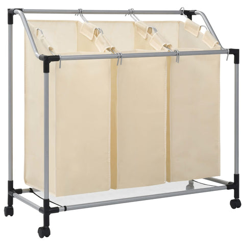 Laundry Sorter with 3 Bags Cream Steel