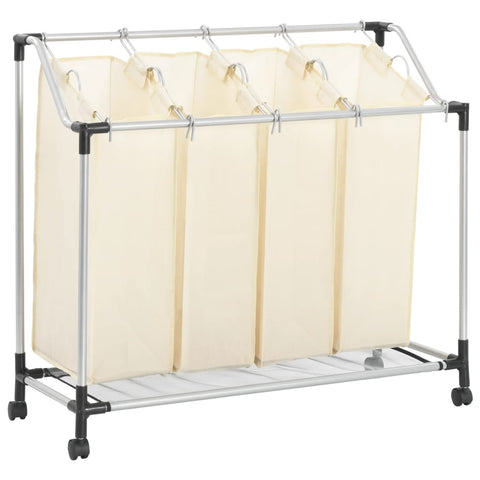 Laundry Sorter with 4 Bags Cream Steel
