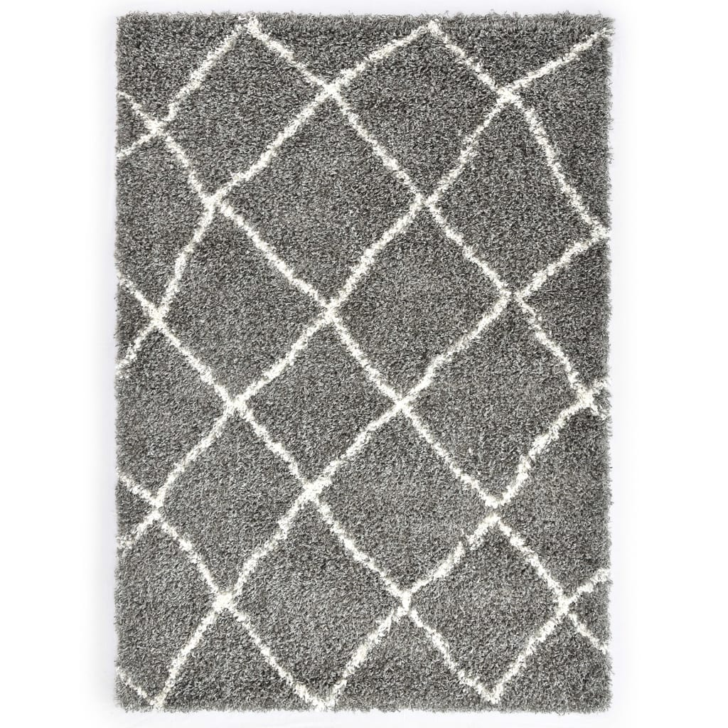 Rug Berber Shaggy PP Grey and Beige 80x150 cm