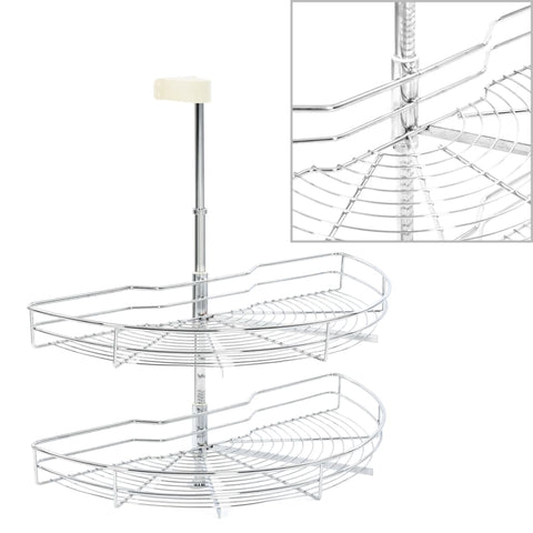 2-Tier Kitchen Wire Basket Silver 180 Degree 75x38x80 cm