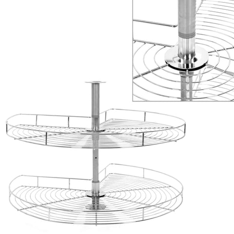 2-Tier Kitchen Wire Basket Silver 270 Degree 82x82x80 cm
