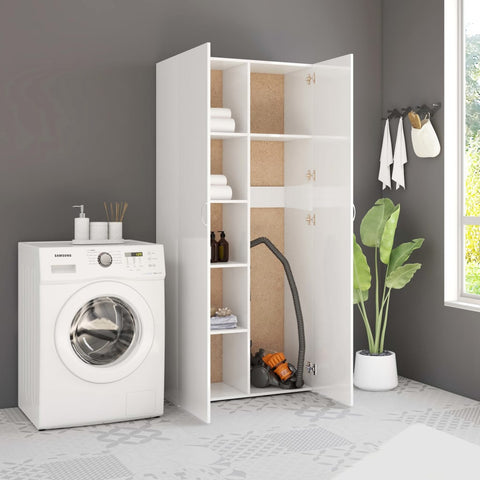 Storage Cabinet High Gloss White 80x35.5x180 cm Chipboard