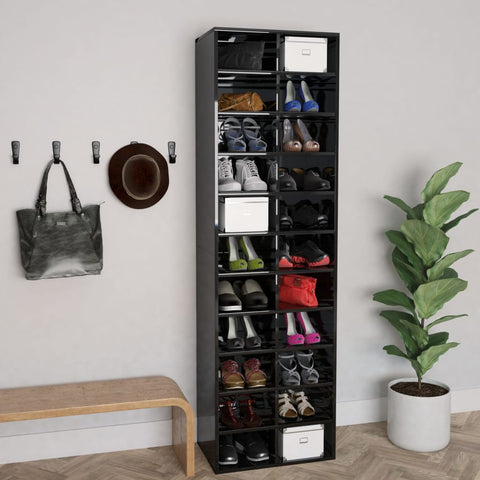 Shoe Cabinet High Gloss Black 54x34x183 cm Chipboard