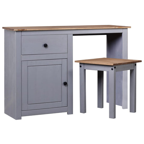 2 Piece Dressing Table Set Grey Solid Pine Wood Panama Range