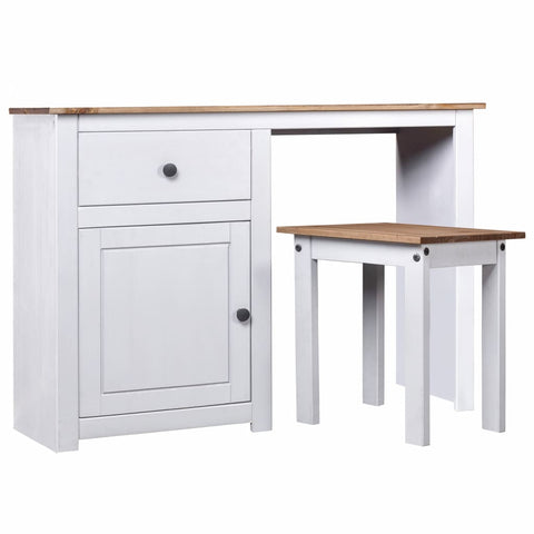 2 Piece Dressing Table Set White Solid Pine Wood Panama Range