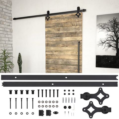 Sliding Door Hardware Kit 200 cm Steel Black