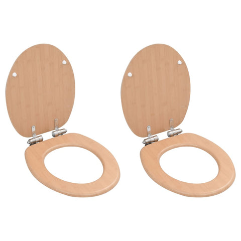 WC Toilet Seats 2 pcs with Soft Close Lids MDF Bamboo Design