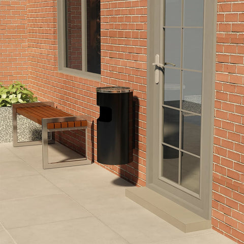 Wall Ashtray Dustbin Steel 26 L Black