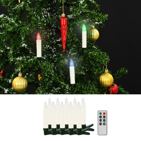 Christmas Wireless LED Candles with Remote Control 10 pcs RGB