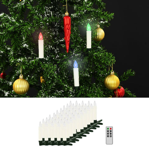 Christmas Wireless LED Candles with Remote Control 50 pcs RGB