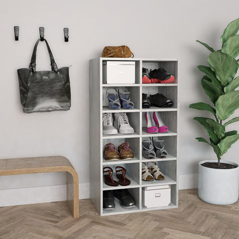 Shoe Rack Concrete Grey 54x34x100 cm Chipboard