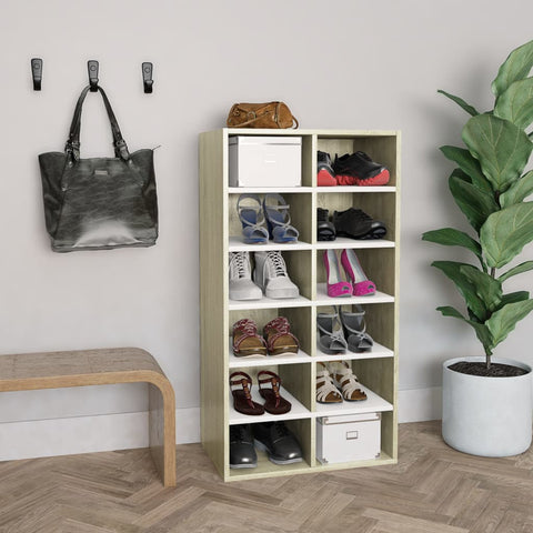 Shoe Rack White and Sonoma Oak 54x34x100 cm Chipboard