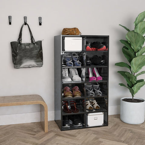 Shoe Rack High Gloss Black 54x34x100 cm Chipboard