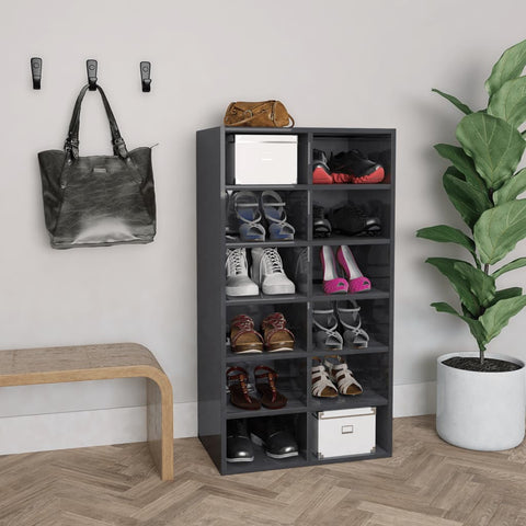 Shoe Rack High Gloss Grey 54x34x100 cm Chipboard