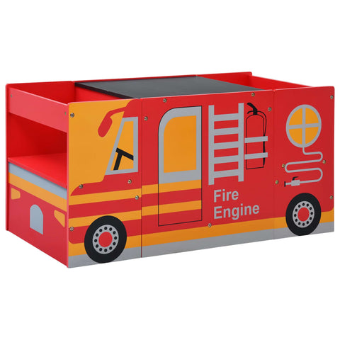 3 Piece Kids Chair Table Set Fire Truck Design Wood