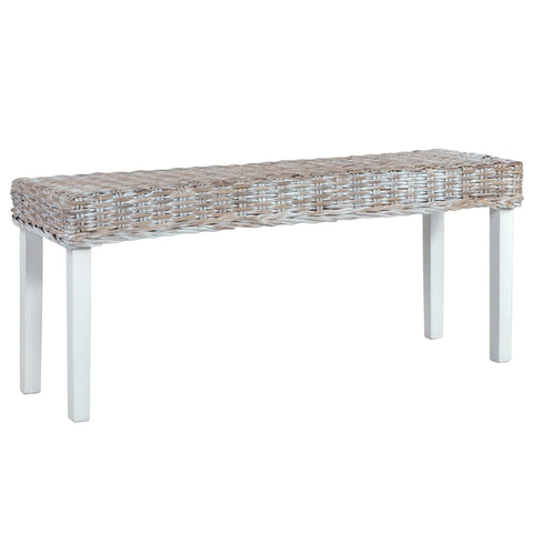 Bench 110 cm White Natural Kubu Rattan and Solid Mango Wood