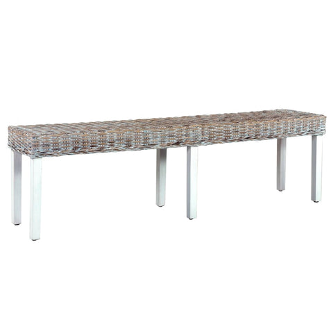 Bench 160 cm White Natural Kubu Rattan and Solid Mango Wood