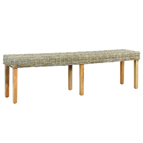 Bench 160 cm Natural Kubu Rattan and Solid Mango Wood