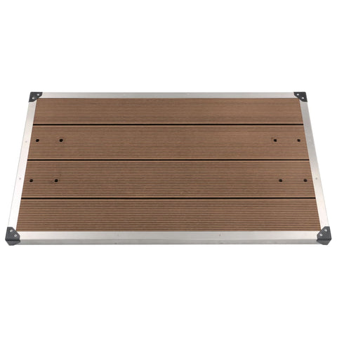 Outdoor Shower Tray WPC Stainless Steel 110x62 cm Brown