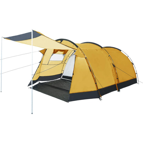 Tunnel Camping Tent 4 Person Yellow