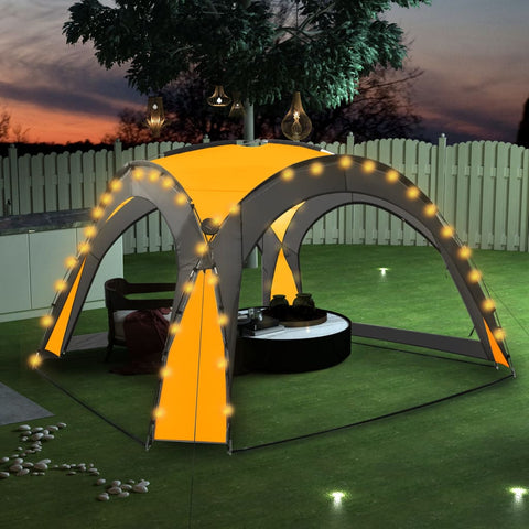 Party Tent with LED and 4 Sidewalls 3.6x3.6x2.3 m Yellow