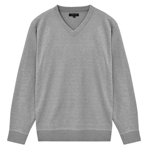 5 pcs Men's Pullover Sweaters V Neck Grey M