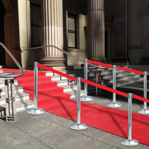 Stanchion with Belt Airport Barrier Stainless Steel Silver