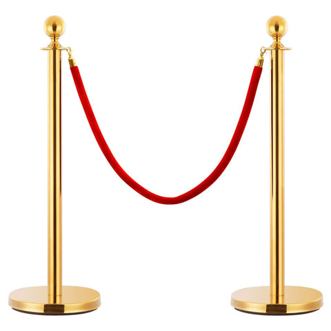Stanchion Stand Rope Red and Golden Velvet