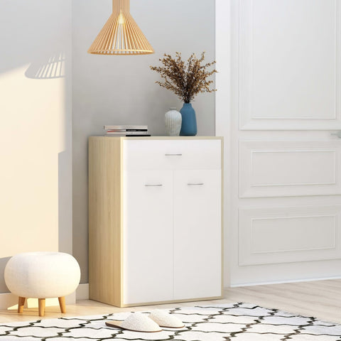 Shoe Cabinet White and Sonoma Oak 60x35x84 cm Chipboard
