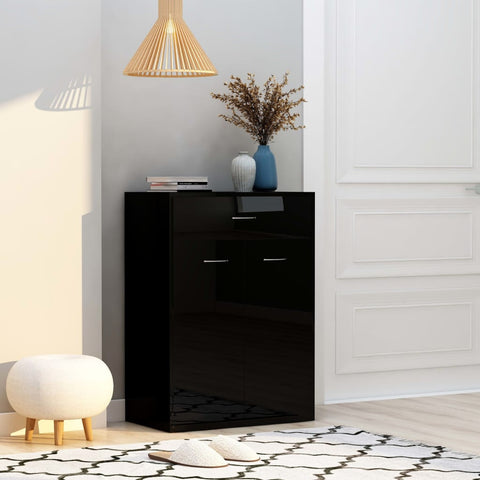 Shoe Cabinet High Gloss Black 60x35x84 cm Chipboard