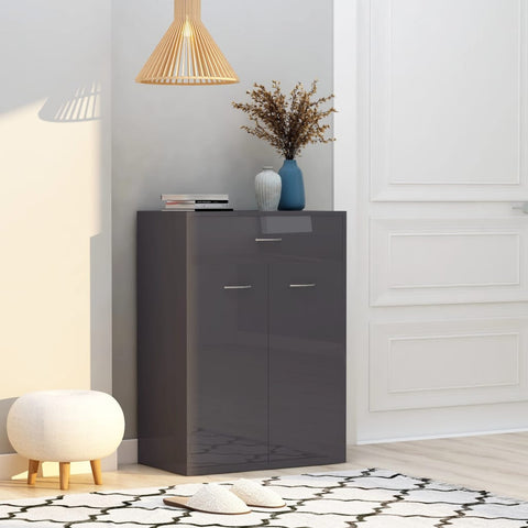 Shoe Cabinet High Gloss Grey 60x35x84 cm Chipboard