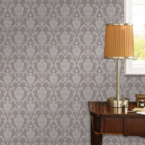 2 pcs Non-woven Wallpaper Rolls Taupe 0.53x10 m Ornament Busy