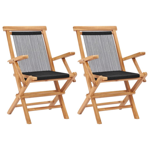 Folding Garden Chairs 2 pcs Solid Teak Wood and Rope