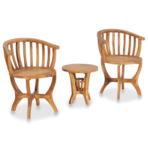 3 Piece Garden Bistro Set Solid Teak Wood