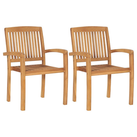Stacking Garden Dining Chairs 2 pcs Solid Teak Wood