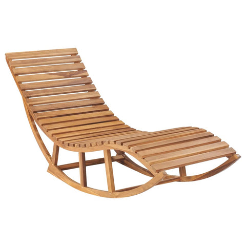 Rocking Sunlounger Solid Teak Wood